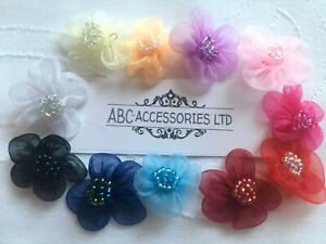 3D FLOWERS (10 pcs ) CHIFFON 1 inch (2.5-3cm)with Beads SEW-ON Flower, FREE Post