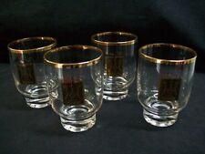 Set of 4 Vintage Thornes 22K Gold Logo/Rim Cocktail Glasses Federal Glass Co.