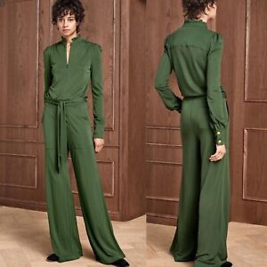 Me + EM Bottle Green Evening Jersey Jumpsuit UK 6, XS RRP £195 Me And Em