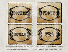 Primitive Grungy Kitchen Pantry Farmhouse Labels #12910 use for jars bottles