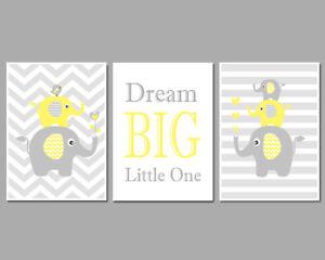 3 Wall Art Nursery Prints Yellow & Grey Elephant Stacks Chevron Stripes