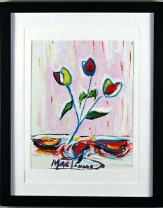 Three Tulips Art Print Hand Embellished Signed R. MacDonald COA - Framed