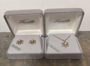 """Krementz Dainty Flower Set With CZ's 14K POSTS Pierced Earrings & 18"""" Pendant"""