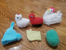 Handmade Crochet Knit Egg Covers Easter Animals Set of 6 Basket Stuffers