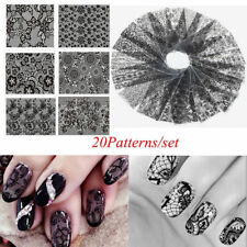 20Pcs/Set Black Lace Flower Nails Transfer Foil Chic Nail Art Stickers Decals
