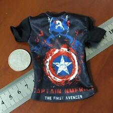 "1/6 Scale Tee Black Short Sleeves T-Shirt Captain America For 12"" Action Figure"