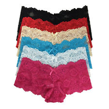 6 Pack Ladies Sexy Full Lace French Knickers Sheer Boxer Shorts Lingerie