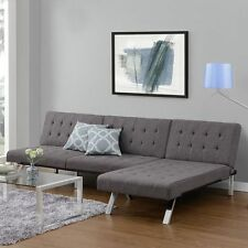 Sectional Grey Sofa Couch Futon & Chaise Set Upholstered Home Furniture