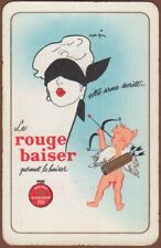 Playing Cards 1 Single Card Old ROUGE BAISER Advertising MAKE-UP Girl Lady Angel