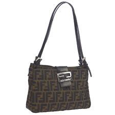 FENDI Zucca Pattern Shoulder Bag Purse Brown Black Canvas Leather AK38094
