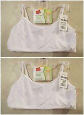NWT Girls HANES XL White Crop Top Pullover Cotton Spandex Training Bra~4 BRAS