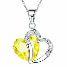 Fashion Osterreic Czech Crystal Heart Shape Pendant Necklace + Gift Box yellow