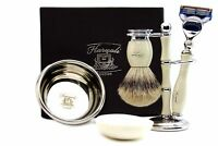 5 Edge Compatible Razor Silver Tip Badger Brush with Stand Bowl & Shaving Soap