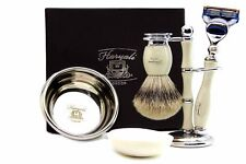 Gillette Fusion Compatible  Razor Silver Tip Badger Brush with Stand Bowl & Soap