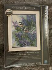 New ListingGold Collection Dimensions 12x16 Chickadees And Lilacs Cross Stitch
