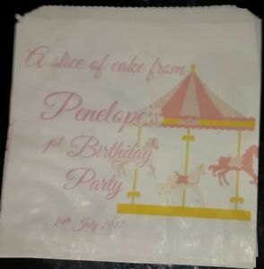 Personalised Fair Ground Carousel White Cake / Party Bags