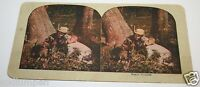 WOW Original Rare 1900's Funny Tired Hunter & Dog Resting On Tree Stereoview