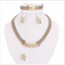 18 K YELLOW GOLD DIAMOND SET NECKLACE EARRINGS BRACELET EARRINGS RING GENUINE