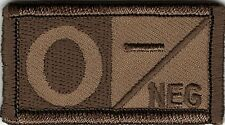 Brown Tan  Blood Type O- Negative Patch VELCRO® BRAND Hook Fastener Compatible
