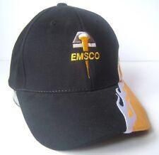 Emsco Hat Black Yellow Hook Loop Baseball Cap