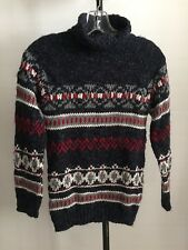 NWT ZARA KNIT SZ 9/10T MULTI COLOR UNISEX WOOL BLEND TURTLENECK SWEATER A43