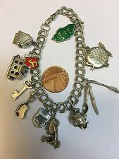 English Vintage Sterling Silver CHARM BRACELET with 11 Good CHARMS