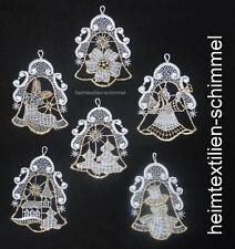 PLAUENER SPITZE ® Fensterbild 6er SET BAUMBEHANG gold GLOCKE Weihnachten ENGEL