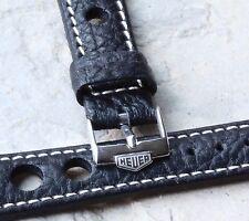 Heuer buckle Heuer Carrera watch 18mm black rally band w/ contrasting stitching