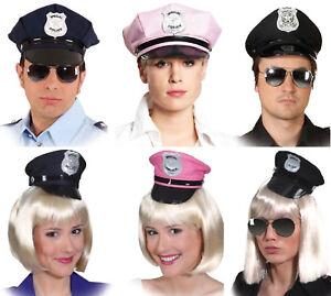 Polizei Polizeimütze Schwarz Blau Cop Cap Police Hut Mütze Kappe Kostüm Uniform