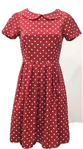 Dangerfield Dress 6 Womens Red White Polka Dot  Spot Collar Short  Sleeve