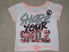 "Girls Size 10 JUSTICE White ""Share Your Smile"" Short Shirt Top EUC"
