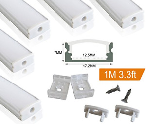 Muzata 5 PACK 1M/3.3ft Aluminum LED Channel for LED Strip Lights, Easy to Cut,