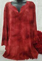 Gloria Vanderbilt Shirt Tops Plus 2X Stretch Red 3/4 Sleeve Crepe V-Neck Tie Dye