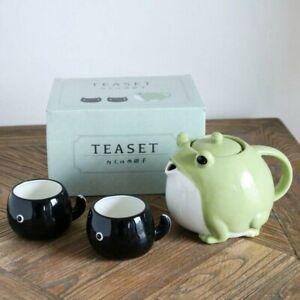 Tea pot & cup SET San Art Frog Tadpole Green Black SAN3293 Pottery Ceramics