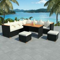 vidaXL Outdoor Dining Set 29 Pieces Wicker Poly Rattan Black WPC Garden Lounge