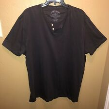 Lucky Brand Henley TShirt Men XXL Short Sleeve Solid Charcoal 2 Button Placket