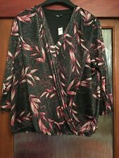 M&CO PRETTY SPARKLY EVENING TOP SIZE 20. BLACK, PINK & SILVER. BNWT. RRP £26.