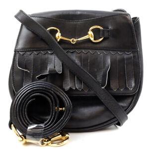 GUCCI Shoulder Bag Black Leather Gold Hardware