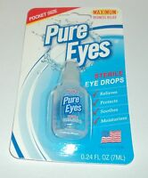 PURE EYES Maximum Redness Relief Pocket Size Sterile Eye Drops  expir 2021