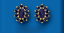 Sapphire Earrings Yellow Gold Cluster Stud Studs