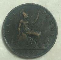 1861 Great Britain 1/2 Half Penny