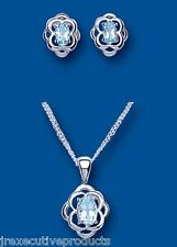 Blue Topaz Pendant and Earrings Set Solid Silver