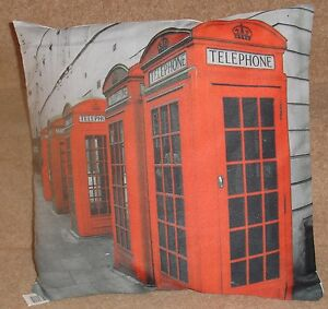 """Red Phone Box Picture print 17""""x17"""" Filled cushion 100% poly machine washable"""