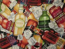 BEER BOTTLES BEER ON ICE COTTON FABRIC FQ