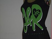 YOUNG AND RECKLESS GIRLY RIBBED TANK TOP BLACK/GREEN W/HEART Size Small