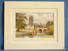 MAGDALEN COLLEGE FROM RIVER CHERWELL OXFORD VINTAGE DOUBLE MOUNTED HASLEHUST PIC