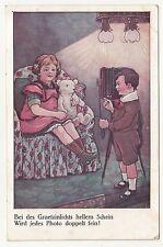 Reklame Ak Graetzin Licht Kinder Fotoapparat Teddybär 1917 ! (A1297