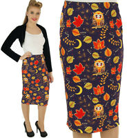 SCUBA WIGGLE PENCIL  SKIRT  50'S VINTAGE OWL ROCKABILLY ALTERNATIVE size 8-20