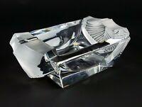 "Sevres Crystal Lg Trinket Dish or Bowl Cut Satin Chevrons, France 8 1/2"" Ashtray"