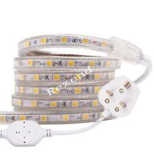 SMD 5050 AC 220V Led Strip Flexible Light With UK Plug/EU Power Plug 1m/5m/100m